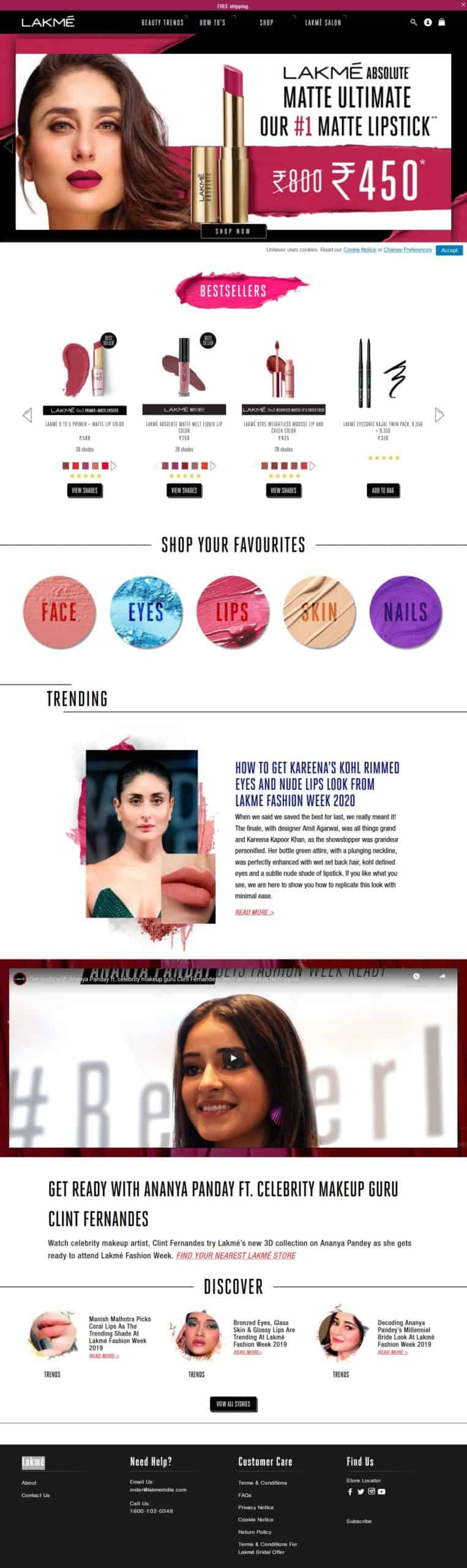 Lakme Website screenshot Professional Cosmetic & Beauty Online Shop | Uddfel Technologies Limited