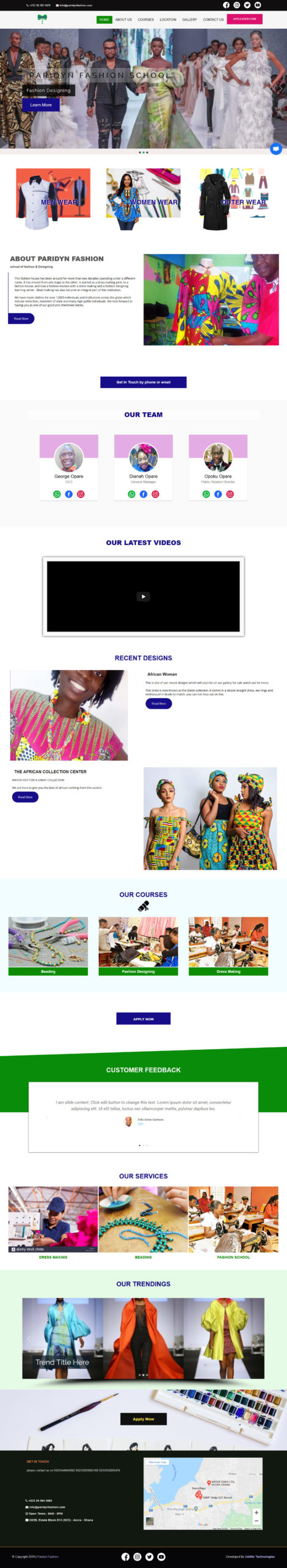 Best Fashion School Website Design | Uddfel Technologies Limited
